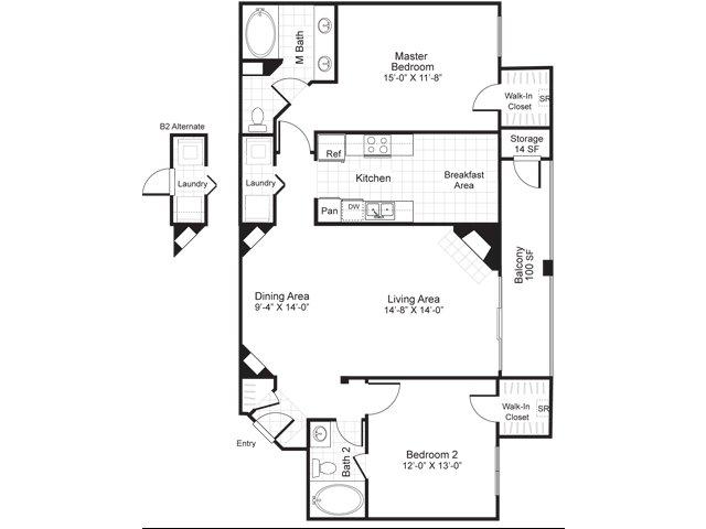 Two bedroom two bathroom B2 floorplan at Atera Apartments in Dallas, TX