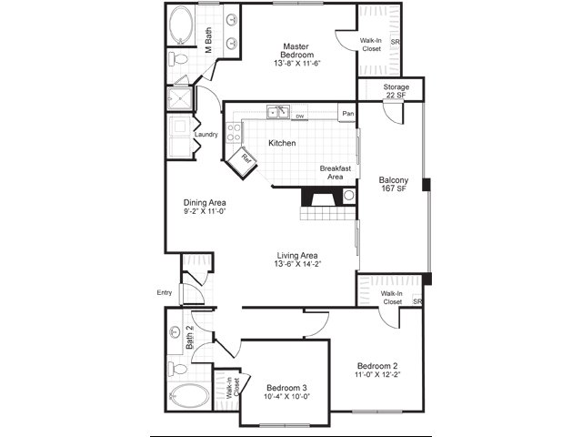 Three bedroom two bathroom C1 floorplan at Atera Apartments in Dallas, TX