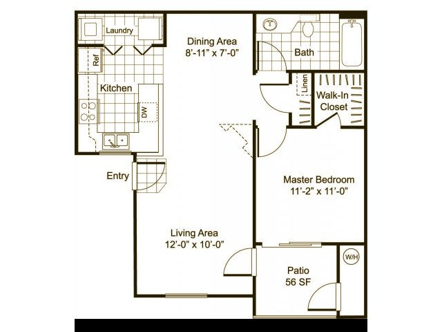 One bedroom one bathroom A1 Floorplan at Cityscape at Lakeshore Apartments in Tempe, AZ