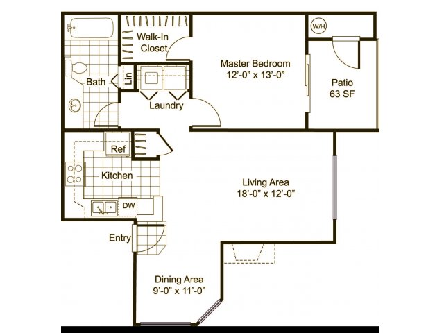 One bedroom one bathroom A3 Floorplan at Cityscape at Lakeshore Apartments in Tempe, AZ