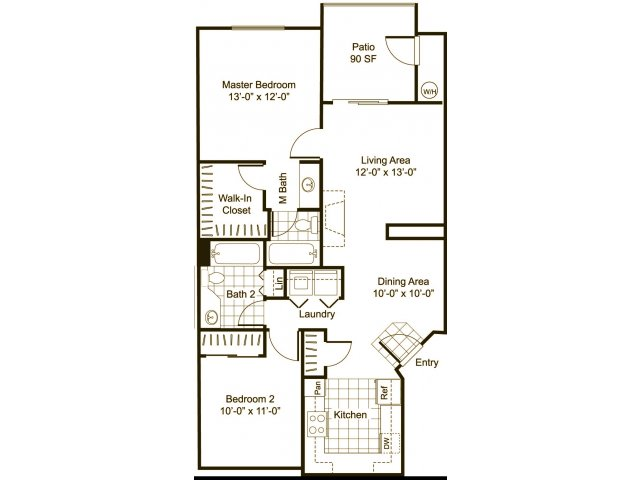 Two bedroom two bathroom B1 Floorplan at Cityscape at Lakeshore Apartments in Tempe, AZ