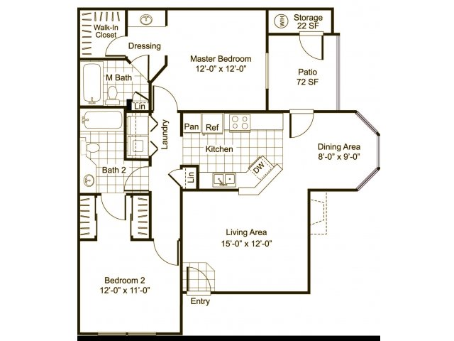 Two bedroom two bathroom B3 Floorplan at Cityscape at Lakeshore Apartments in Tempe, AZ