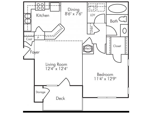 One bedroom one bathroom A4 Floorplan at Highland Lake Apartments in Decatur, GA