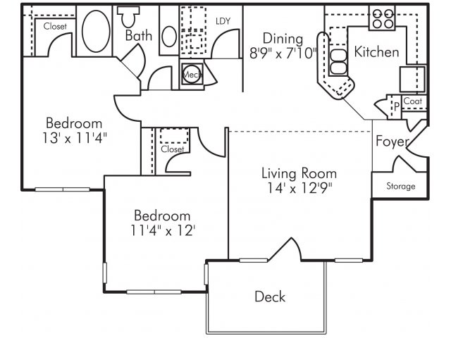 Two bedroom one bathroom B1 Floorplan at Highland Lake Apartments in Decatur, GA