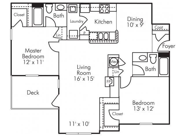 Two bedroom two bathroom B4 Floorplan at Highland Lake Apartments in Decatur, GA