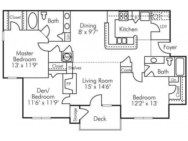 Three bedroom two bathroom C2 Floorplan at Highland Lake Apartments in Decatur, GA