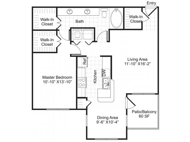 One bedroom one bathroom A3 floorplan at Woodway Square Apartments in Houston, TX