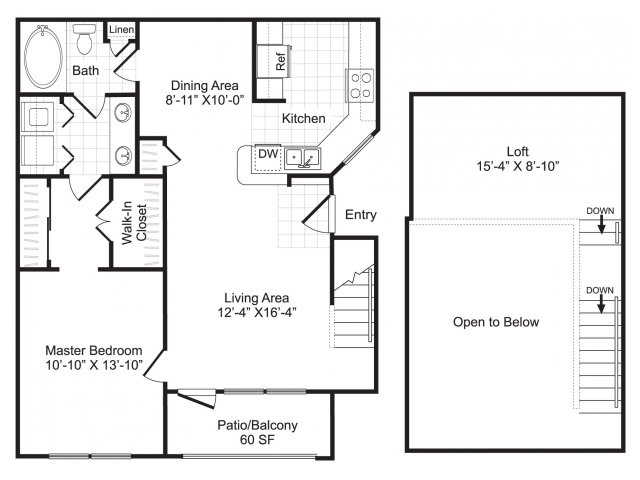 One bedroom one bathroom A4 floorplan at Woodway Square Apartments in Houston, TX