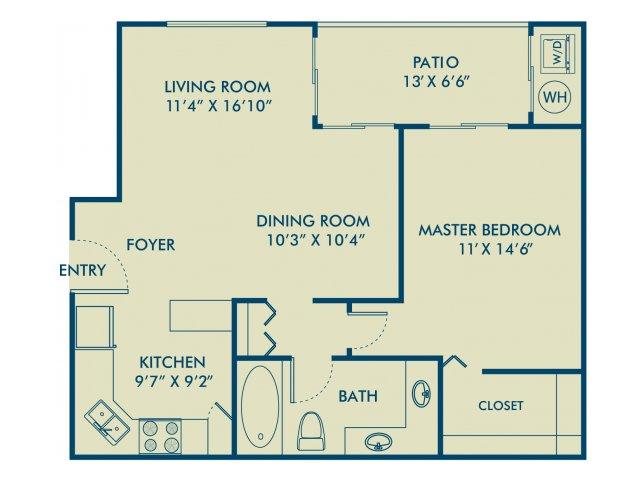 One bedroom one bathroom A1 Floorplan at Delray Verana Apartments in Delray Beach, FL