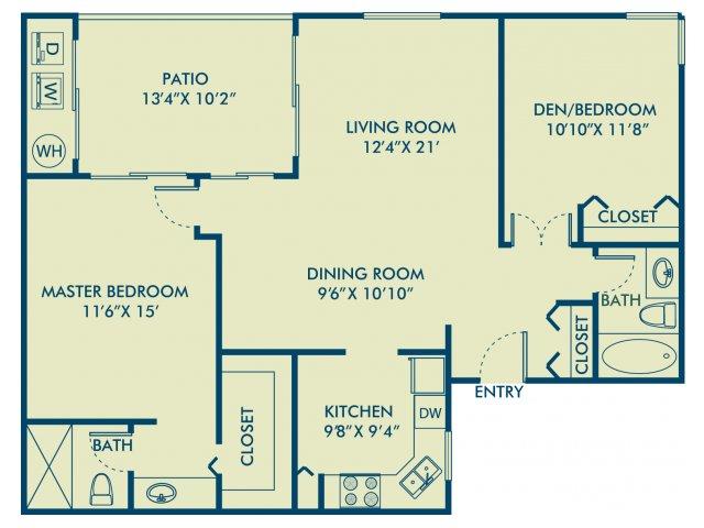Two bedroom two bathroom B1 Floorplan at Delray Verana Apartments in Delray Beach, FL