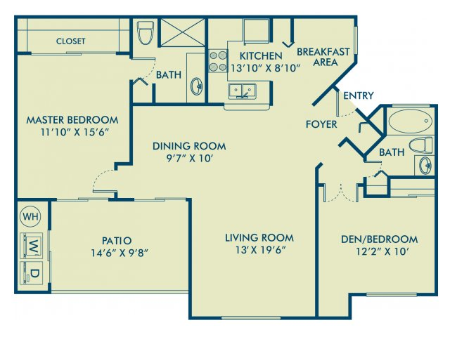 Two bedroom two bathroom B2 Floorplan at Delray Verana Apartments in Delray Beach, FL