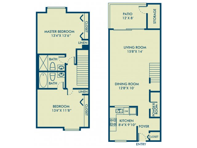 Two bedroom two bathroom B3 Floorplan at Delray Verana Apartments in Delray Beach, FL