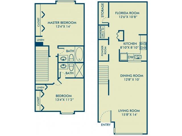 Two bedroom two bathroom B4 Floorplan at Delray Verana Apartments in Delray Beach, FL