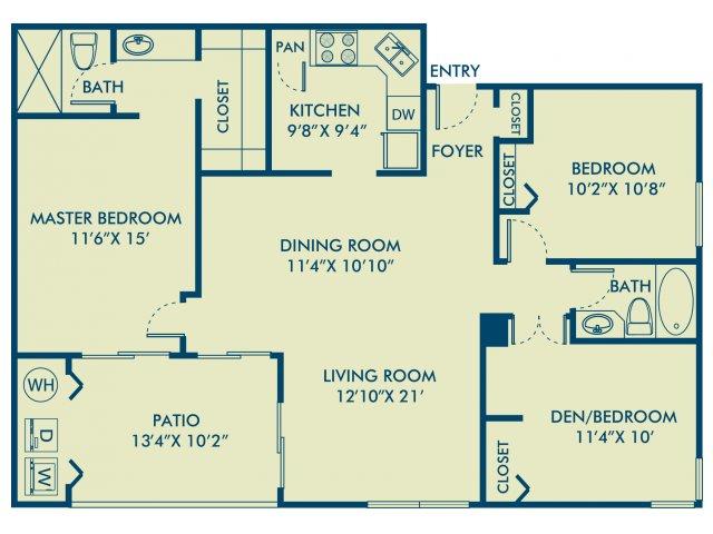 Three bedroom two bathroom C1 Floorplan at Delray Verana Apartments in Delray Beach, FL