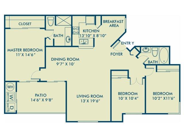 Three bedroom two bathroom C2 Floorplan at Delray Verana Apartments in Delray Beach, FL