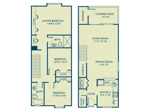 Three bedroom two and a half bathroom C3 Floorplan at Delray Verana Apartments in Delray Beach, FL