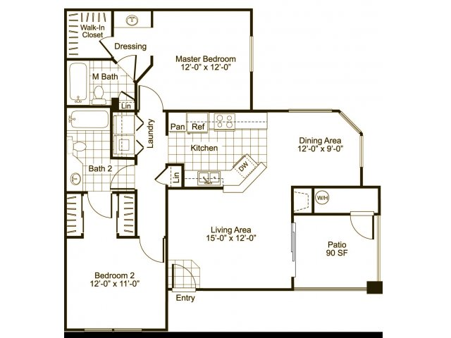 Two bedroom two bathroom B2 Floorplan at Cityscape at Lakeshore Apartments in Tempe, AZ