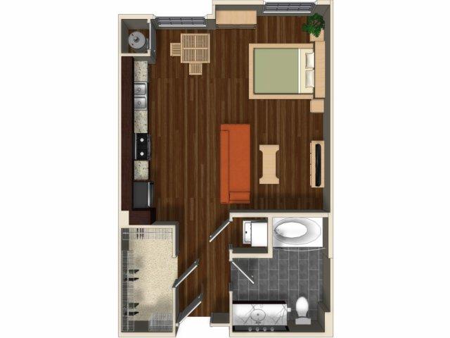 Studio apartment Lantana floorplan at Terrena Apartments in Northridge, CA