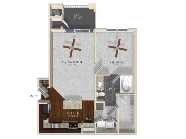 1 bedroom 1 bathroom apartment A1 floorplan at Atley on the Greenway in Ashburn, VA