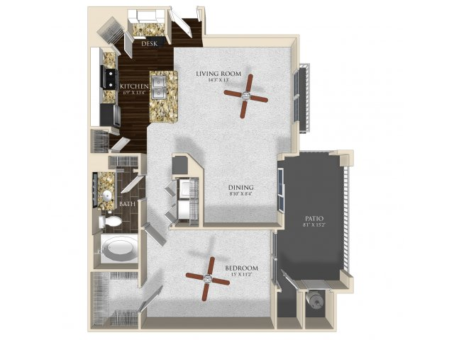 1 bedroom 1 bathroom apartment A2 floorplan at Atley on the Greenway in Ashburn, VA