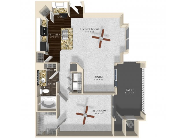 1 bedroom 1 bathroom apartment A22 floorplan at Atley on the Greenway in Ashburn, VA