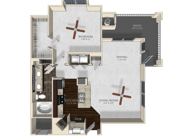 1 bedroom 1 bathroom apartment A32 floorplan at Atley on the Greenway in Ashburn, VA