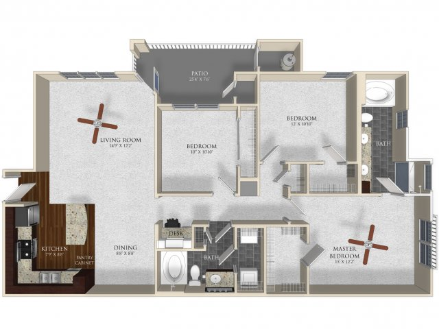3 bedroom 2 bathroom apartment C1 floor plan at Atley on the Greenway in Ashburn, VA