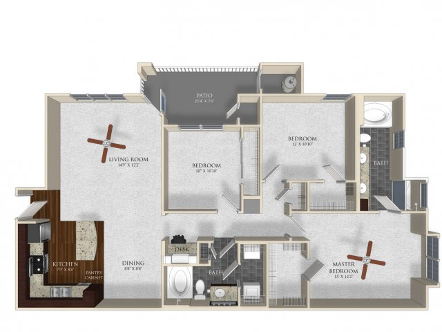 3 bedroom 2 bathroom apartment C12 floor plan at Atley on the Greenway in Ashburn, VA