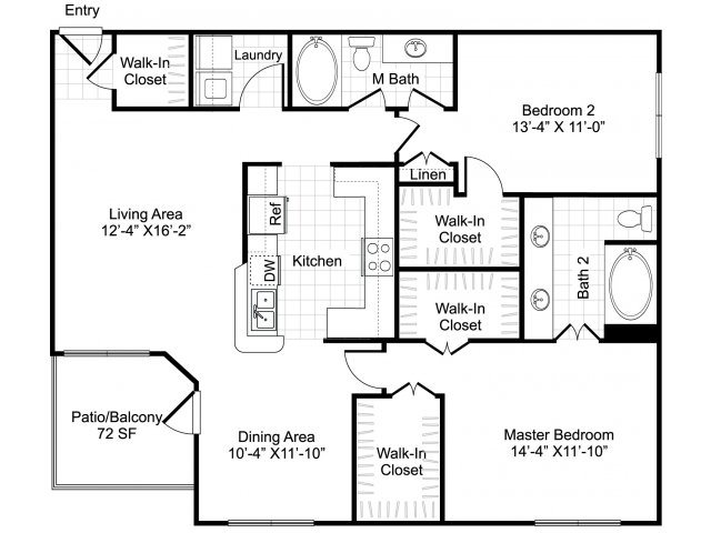 Two bedroom two bathroom B1 floorplan at Woodway Square Apartments in Houston, TX