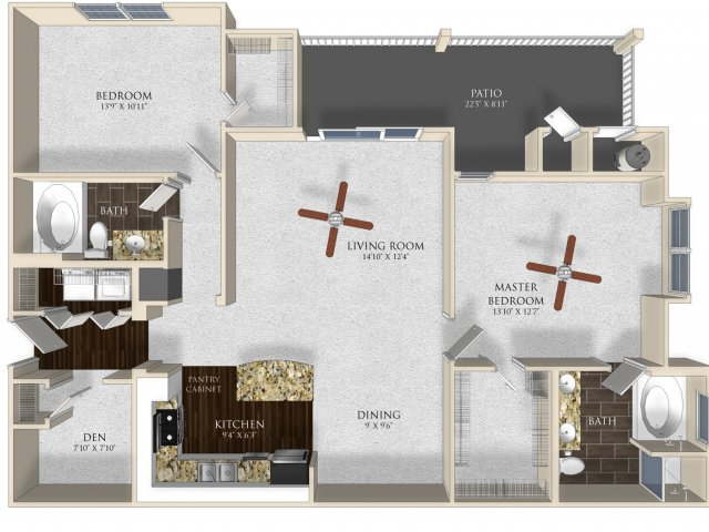 2 bedroom 2 bathroom apartment B23 floor plan at Atley on the Greenway in Ashburn, VA