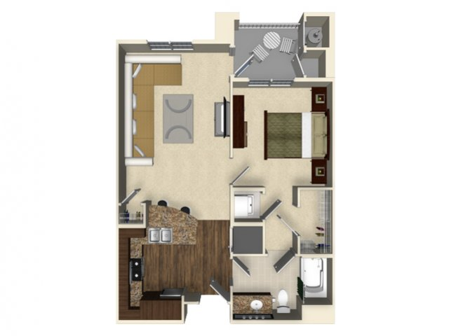 1 bedroom 1 bathroom apartment A1 floor plan at The Verdant Apartments in San Jose, CA