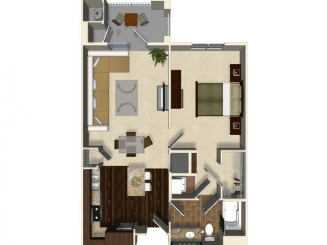 1 bedroom 1 bathroom apartment A2 floor plan at The Verdant Apartments in San Jose, CA