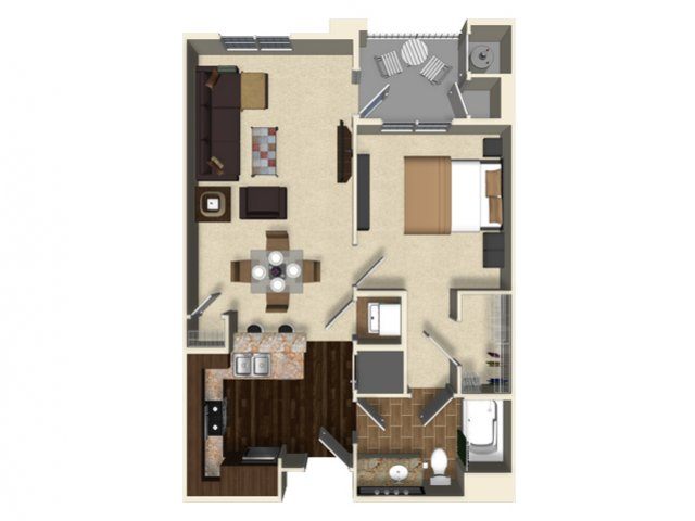 1 bedroom 1 bathroom apartment A4 floor plan at The Verdant Apartments in San Jose, CA