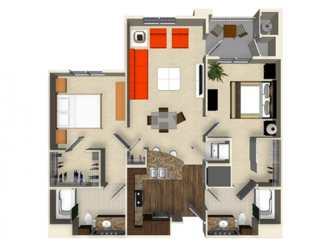 2 bedroom 2 bathroom apartment B1 floor plan at The Verdant Apartments in San Jose, CA