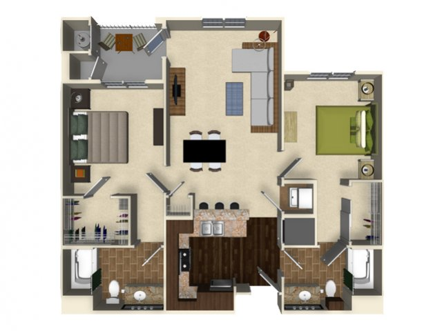 2 bedroom 2 bathroom apartment B2 floor plan at The Verdant Apartments in San Jose, CA