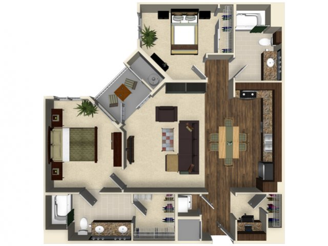 2 bedroom 2 bathroom apartment B3B floor plan at The Verdant Apartments in San Jose, CA