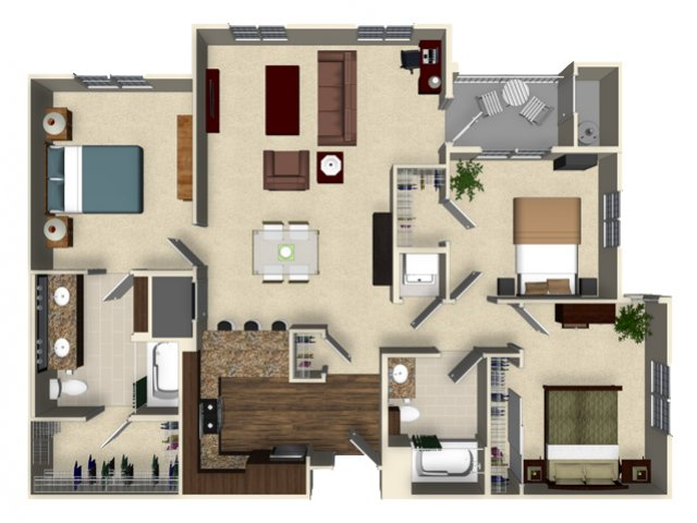 3 bedroom 2 bathroom apartment C1 floor plan at The Verdant Apartments in San Jose, CA