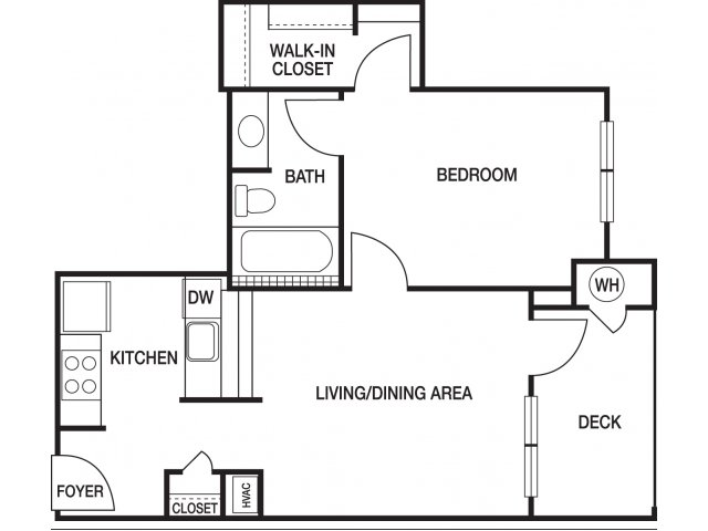One bedroom one bathroom A2 floorplan at The Prato at Midtown Apartments in Atlanta, GA