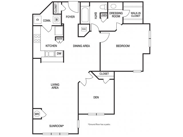 One bedroom one bathroom A8 floorplan at The Prato at Midtown Apartments in Atlanta, GA