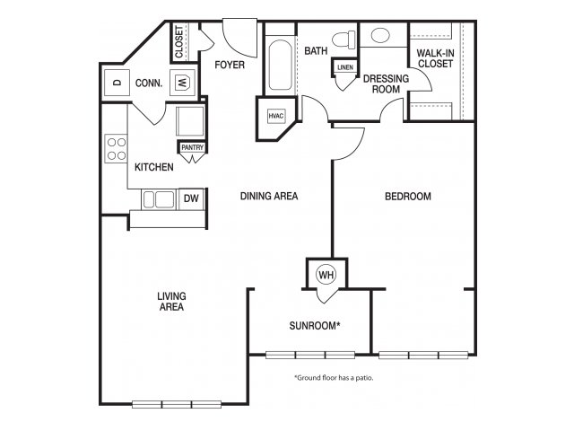 One bedroom one bathroom A9 floorplan at The Prato at Midtown Apartments in Atlanta, GA