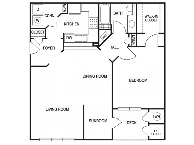 One bedroom one bathroom A51 floorplan at The Prato at Midtown Apartments in Atlanta, GA