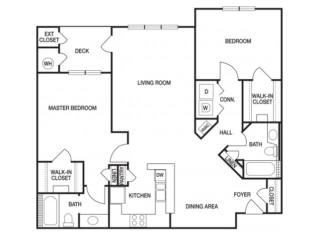 Two bedroom two bathroom B5 floorplan at The Prato at Midtown Apartments in Atlanta, GA