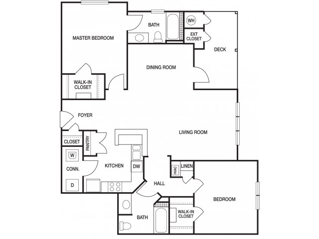 Two bedroom two bathroom B6 floorplan at The Prato at Midtown Apartments in Atlanta, GA