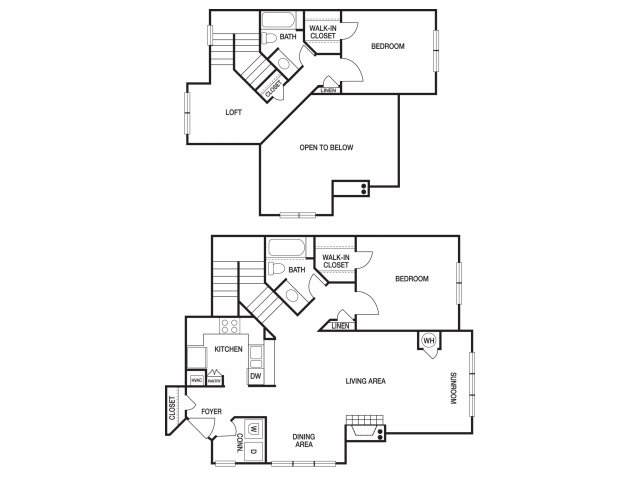 Two bedroom two bathroom B10TH floorplan at The Prato at Midtown Apartments in Atlanta, GA