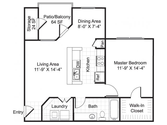 one bedroom one bathroom a2 floorplan at sereno park apartments in san