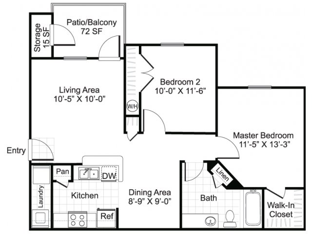 two bedroom one bathroom b1 floorplan at sereno park apartments in san