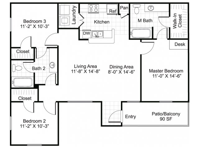 bedroom two bathroom c1 floorplan at sereno park apartments in san