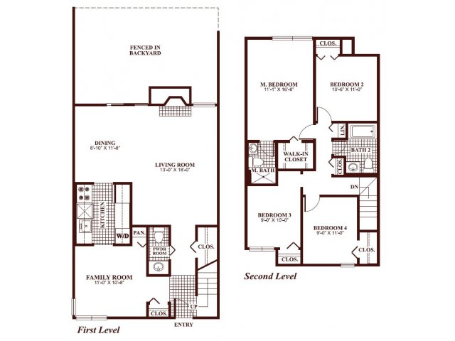 Four bedroom two and a half bathroom D2-Townhome Floorplan at Ramblewood Village Apartments in Mount Laurel, NJ