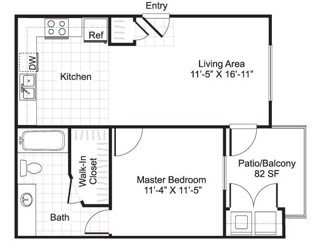 1 bedroom 1 bathroom apartment A1 floor plan at Brynwood Apartments in San Antonio, TX