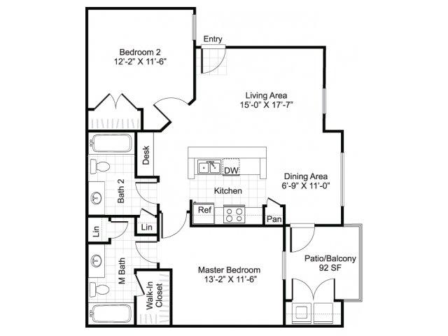 2 bedroom 2 bathroom apartment B2 floor plan at Brynwood Apartments in San Antonio, TX